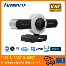 TENVEO-T1 USB PC Webcam for Streaming HD 1080P Built in Adjustable Ring Light and Mic Computer Web Camera with Privacy Cover