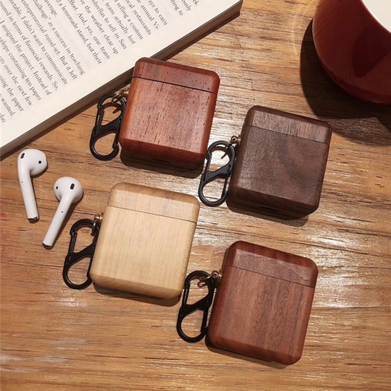 New Creatived Wooden Headset Protective Sleeve For Apple AirPods Case Bluetooth Headset Drop Protection Sleeve With Keychain