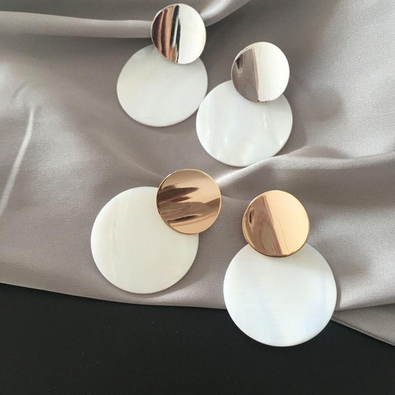 Fashion Round Shell Pendant Earrings Drop Earrings For Women Gold Silver Geometric Earrings Punk Glamour Jewelry Earrings 2018