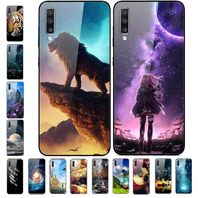 For <font><b>Samsung</b></font> Galaxy A70 <font><b>Case</b></font> Tempered <font><b>Glass</b></font> Hard Back <font><b>Cases</b></font> Cover For <font><b>Samsung</b></font> Galaxy A70 <font><b>Case</b></font> A705F Covers <font><b>A</b></font> <font><b>70</b></font> 2019 Phone <font><b>Case</b></font> image
