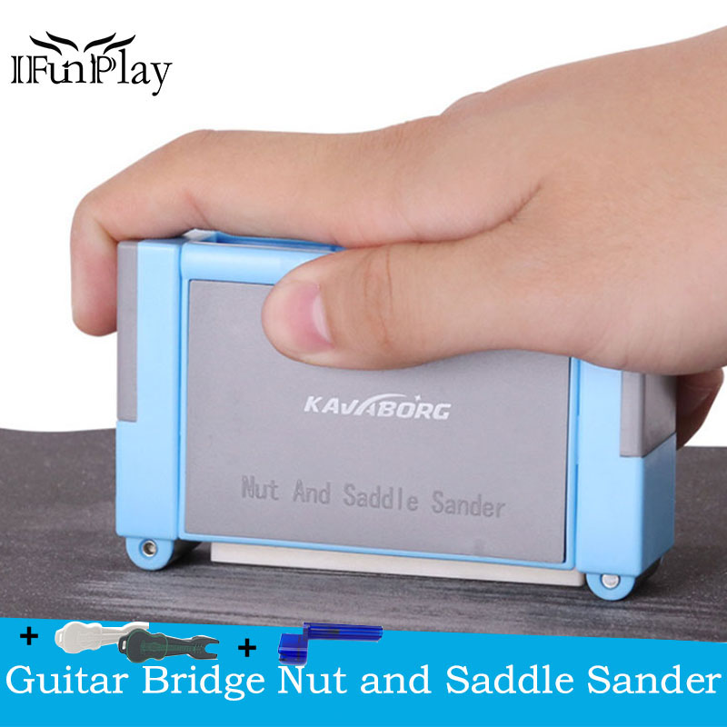 Hidear Guitar Sanding Tool,Guitar Bass Ukulele Nut Bridge Saddle Grooves Sanding Files Tool Kit Electric Acoustic Guitar Part DIY Tools