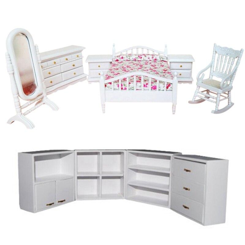 2 ensemble maison de poupée ensemble de meubles: 1 ensemble 1/12 salon étagère en bois combinaison placard blanc & 1 ensemble 6 pièces lit chaise berçante Dre