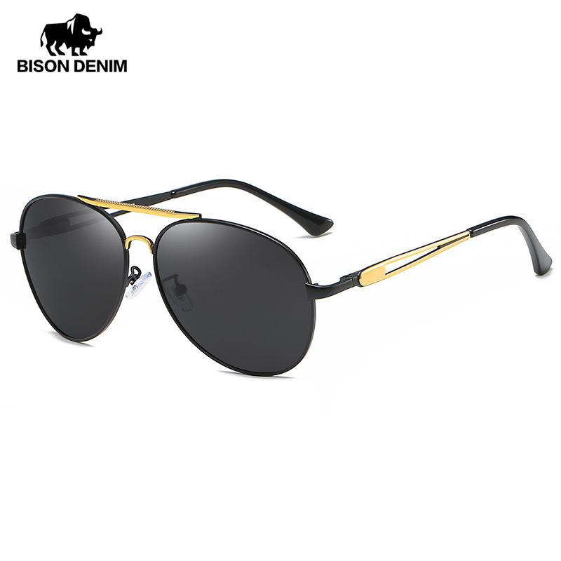 BISON DENIM Classic Sunglasses For Men Polarized UV400 Resin Brand Designer Vintage Eyewear Driving Fishing Sun Glasses 2032