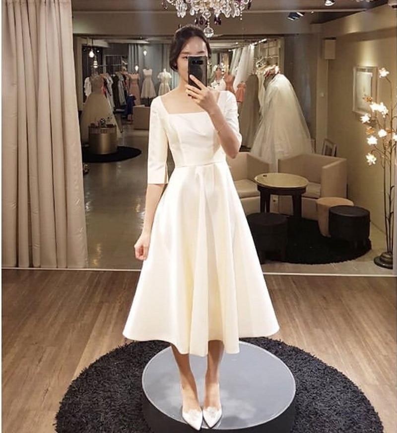 vestidos de novia Simple Tea Length Beach Wedding Dresses 2020 With Half Sleeves Summer Bridal Dress Cheap
