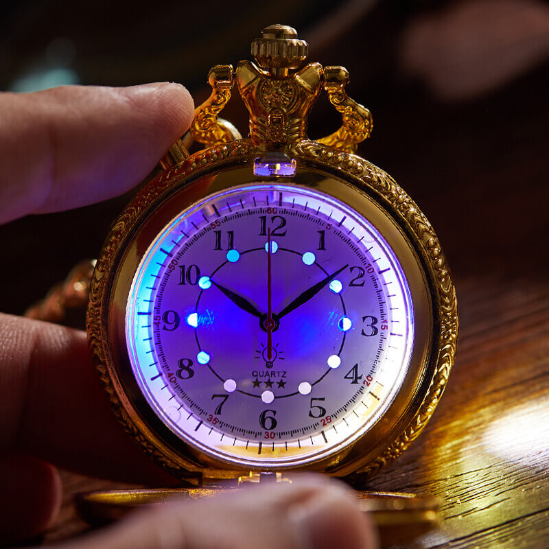Luminous Dial Pocket Watch Carving Train Quartz Fob Watches Chain Steampunk Pendent Clock Christmas Gifts