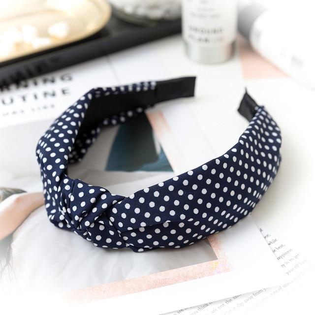 Фото повязка для волос в горошек женская однотонный эластичный простой