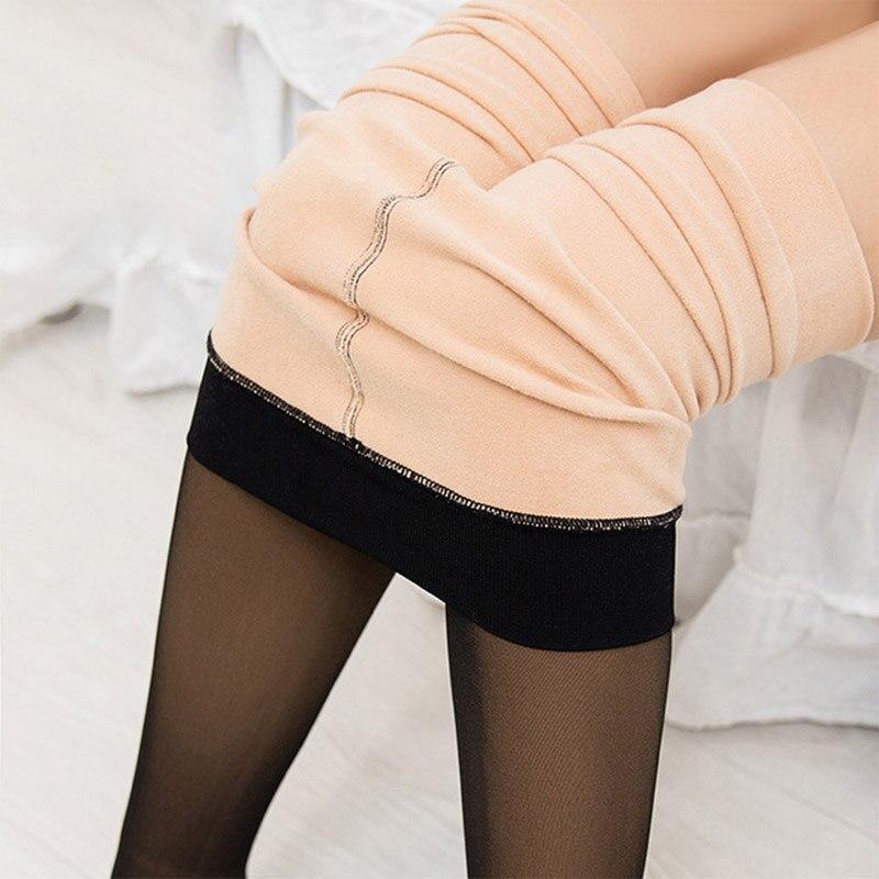 2019 New Korean Warm Leggings Women Plus Velvet Mesh Pants Keep Warm Solid Pant High Waist Plus Size Leggings For Winter Clothes