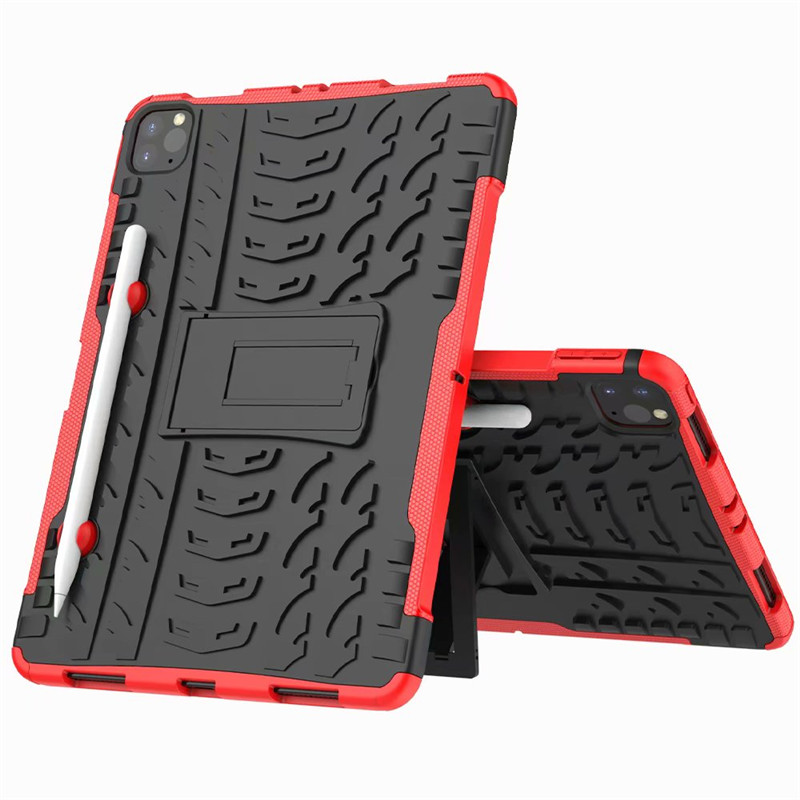 Red Red Shockproof Armor Case For New iPad Pro 11 2020 Case With Pencil Holder Flip Stand Cover