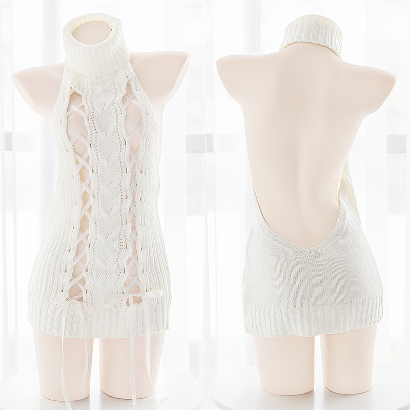 <font><b>Japanese</b></font> White Sexy Women's Open Chest Backless Knitted <font><b>Sweater</b></font> Sweet Lolita Cosplay <font><b>Virgin</b></font> <font><b>Killer</b></font> Hollow Bandge Tops Knitwear image