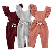 2020 Cute Newborn Baby Girls Ruffle Cotton Romper Jumpsuit Clothes Princess Fly Sleeve Lace Up Kids Children Outfits Sunsuit emmababy cute princess dress newborn toddler baby girls unicorn lace tutu fly sleeve romper jumpsuit fancy dress outfits costume