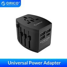 ORICO محول السفر مأخذ كهربائي الاتحاد الأوروبي/الولايات المتحدة/المملكة المتحدة/الاتحاد الافريقي التوصيل مهايئ طاقة شامل مع 4 منافذ USB شاحن 5V3.4A