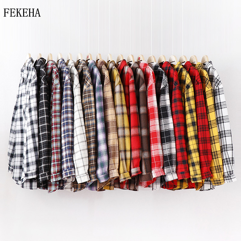 2020 Fashion Women Plaid Shirt Chic Checked Blouse Long Sleeve Female Casual Print Shirts Loose Cotton Tops Blusas(China)