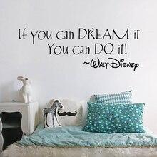 Etiqueta de la pared del sueño si puedes sueño puedes hacer arte extraíble Mural del hogar sala de estar pegatina transferencia decoración Vintage arte