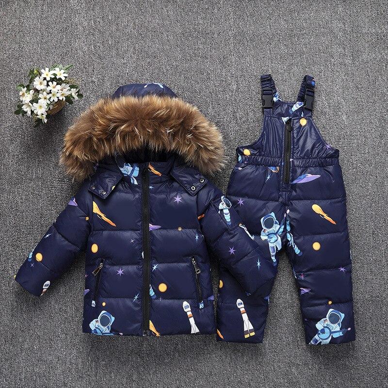 30 градусов в России, зимние комплекты одежды для маленьких мальчиков и девочек Детские Пуховые костюмы 2019 г., модная пуховая куртка для малышей, верхняя одежда + комбинезон