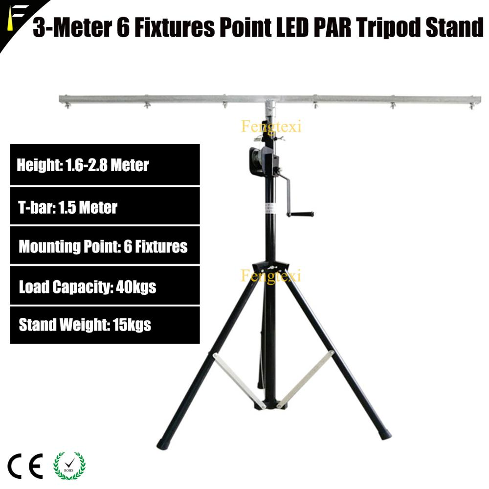 3m Height Tripod Stand 6 Lighting Fixtures Point Wedding Party Stage Moving Light LED Tripod Stand Self Lock Manual Lift Stand
