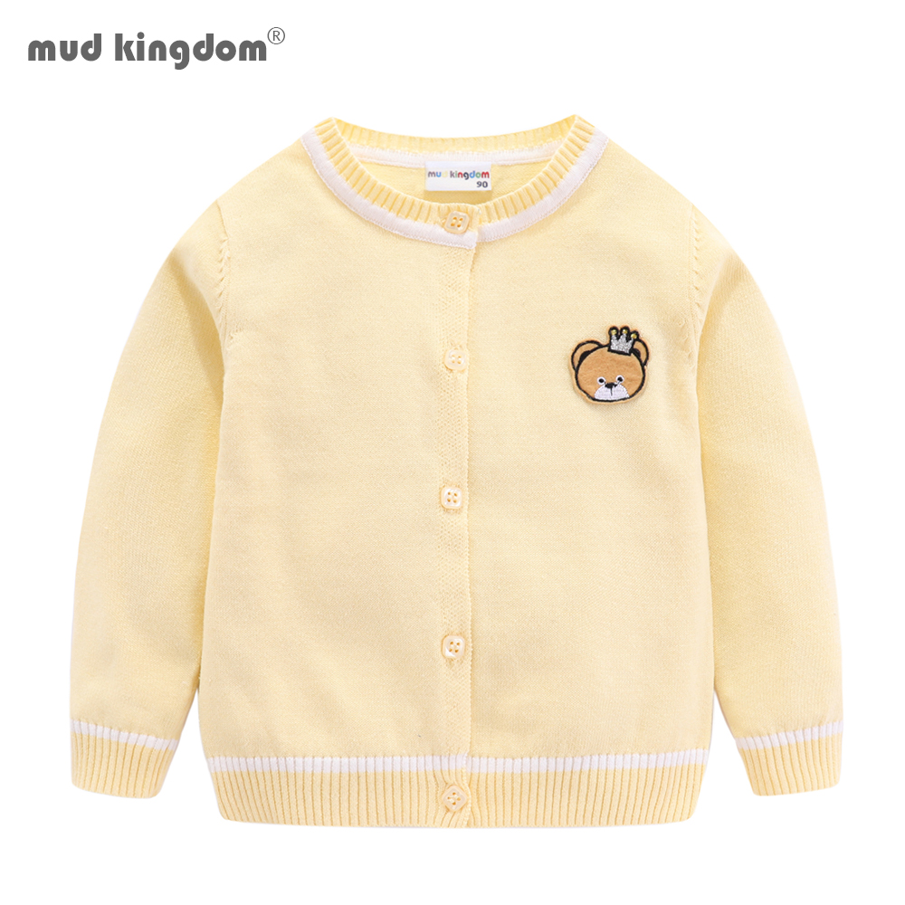 Mudkingdom Baby Boys Girls Cardigan Sweater Cute Embroidery Ribbed Hem Kids Clothes Autumn 1