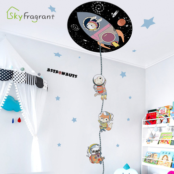 Cartoon Rocket Animals Astronaut Wall Sticker Self Adhesive Bedroom Wall Decor Kids Room Decoration Home Stickers Door Sticker Leather Bag