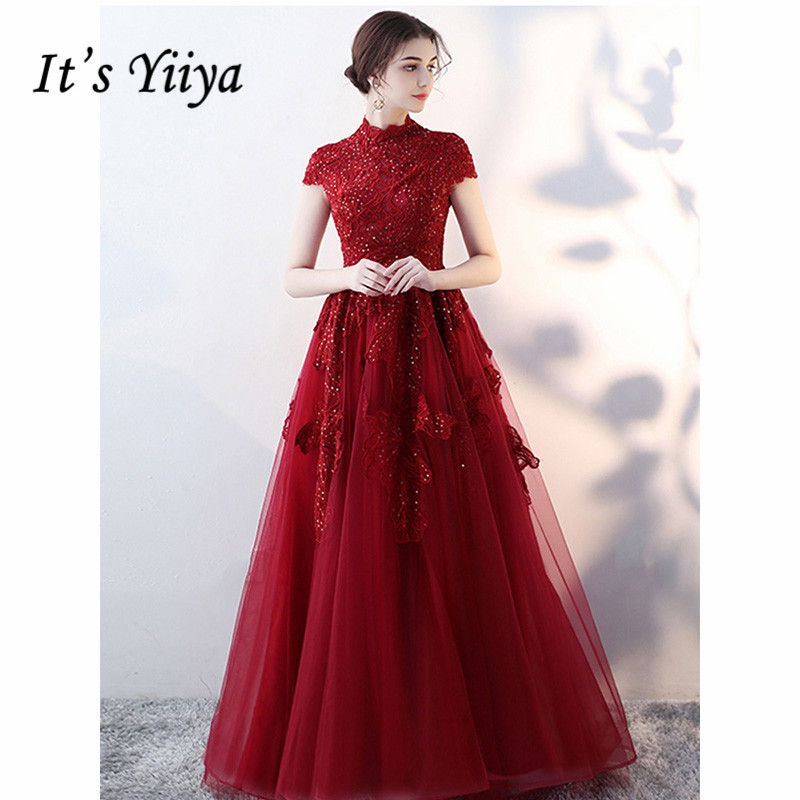 It's Yiiya Evening Dress 2019 Burgundy High Neck Formal Gowns Appliques Short Sleeve Elegant Train Party Formal Dresses E1058