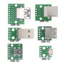 10 pces usb macho conector/mini micro usb para mergulhar adaptador 2.54mm 5pin fêmea conector b tipo usb2.0 fêmea pcb conversor USB-01