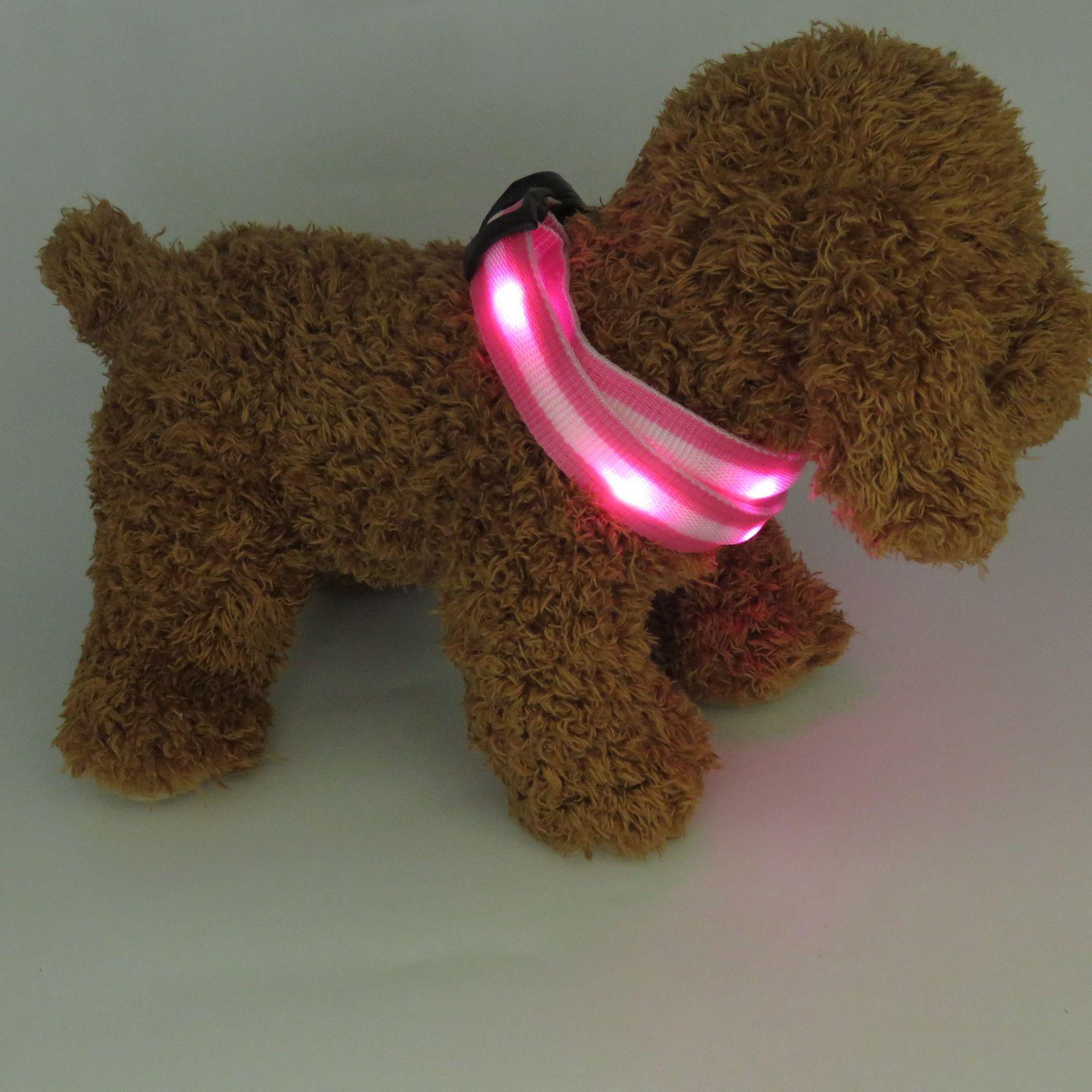 Glowing Pet Collar LED Night Fiber Glitter Nylon Webbing Dog Neck Ring Adjustable Size