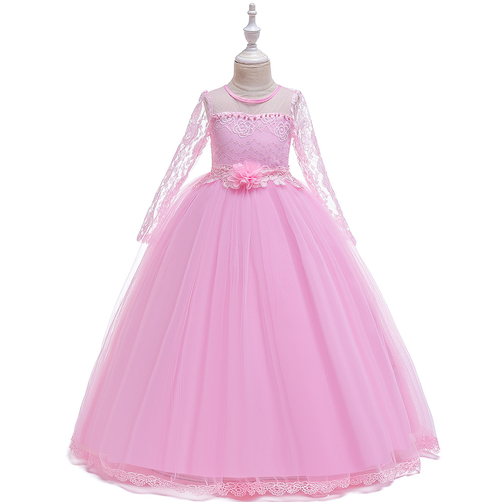Europe And America Amazon Supply Of Goods CHILDREN'S Dress Lace Flower Girls Puffy Princess Long Skirts Children Wedding Dress L