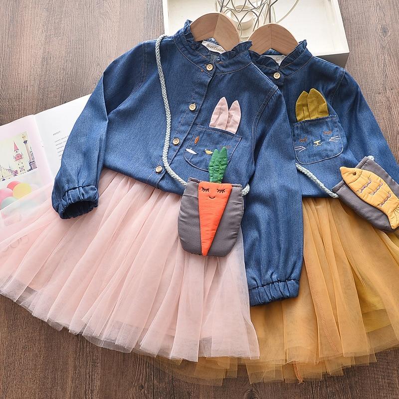 Girls Dress Autumn Princess Animal Pattern Rabbit  Dress For Girls Clothes Children Clothing Tutu Party Style Girls Dresses 1