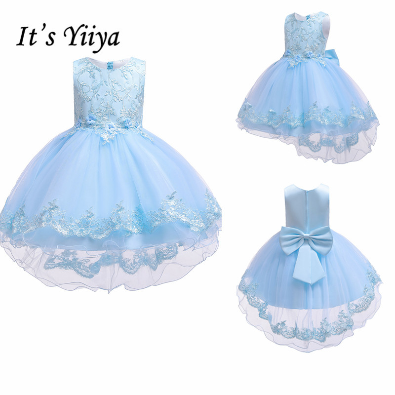It's YiiYa Flower Girl Dress 2019 Elegant Blue High Low Length Kid Party Gowns Bow Lace Wedding Communion Dresses For Girls 188