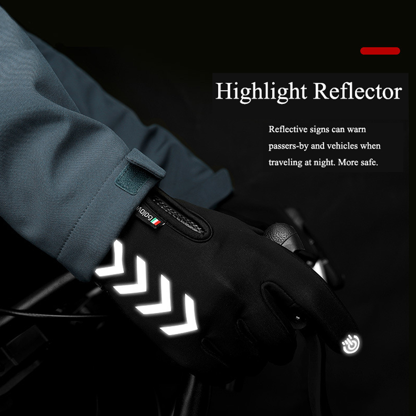 Winter Men Gloves Night Reflective Strip Touchscreen Waterproof Anti-slip Gloves For Cycling Skiing Windproof Fluff Warm Gloves