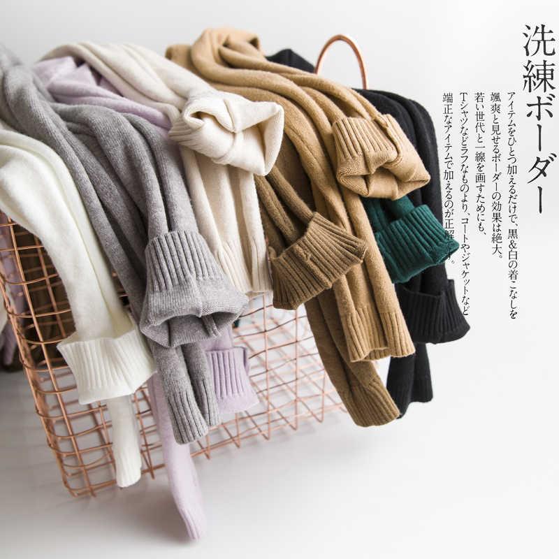 2019 Gugur Musim Dingin Baru Women'sturtleneck Sweater Wanita Lengan Panjang Pullover Warna Solid Paragraf Pendek Liar Kemeja