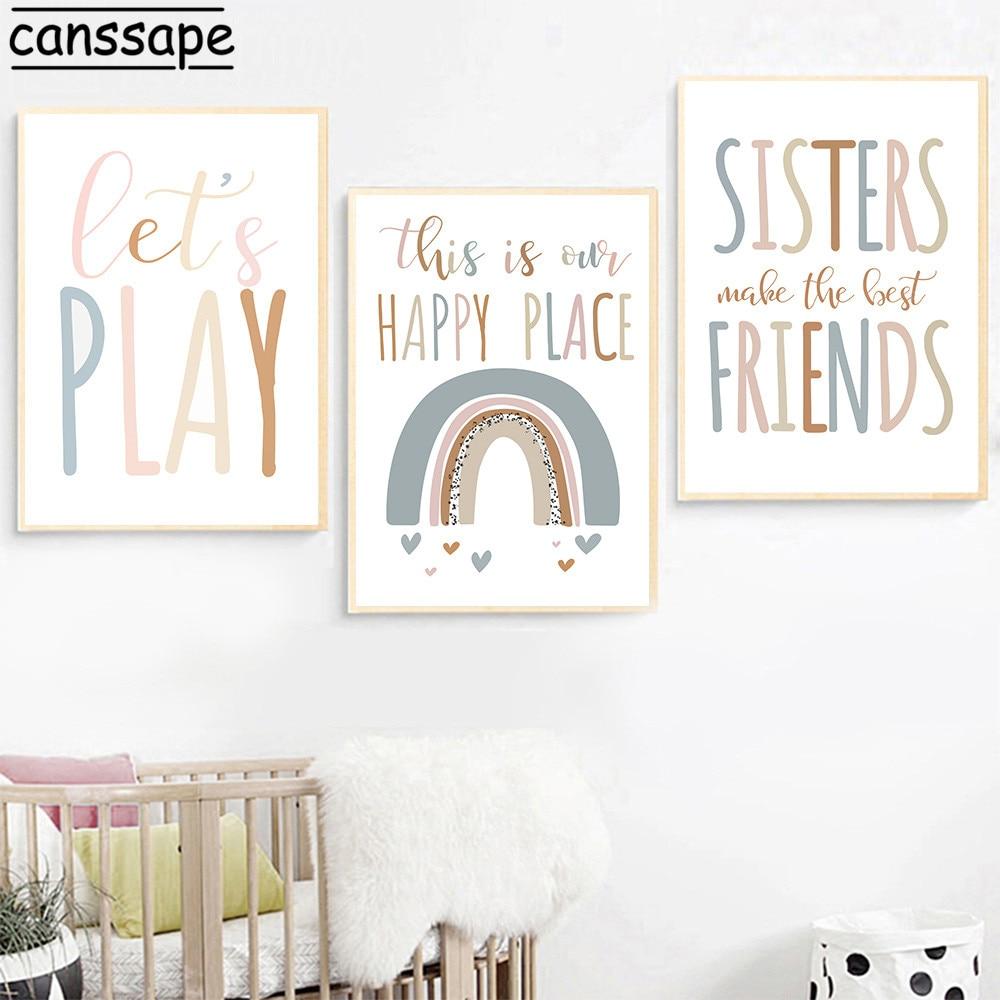 Настенный плакат для детской комнаты с радужным принтом сестры сделать лучших друзей минималистичные цитаты настенные картины в скандинав...