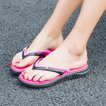 Womens Summer Slip-on Shoes Anti-slip Hard-wearing Fashion Leisure Slippers Beach Swimming Walking Indoor T-tied Flip Flops 5