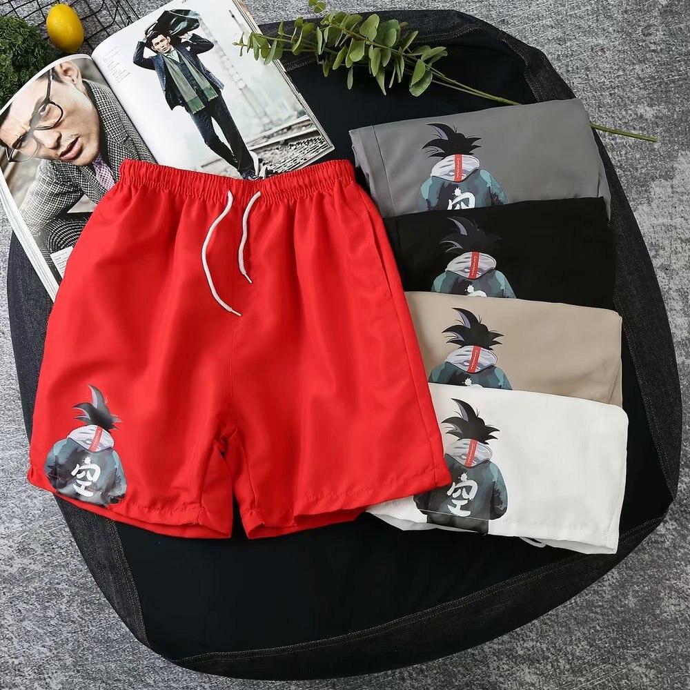 Men's Japanese-style Goku Shorts Short Sleeve Sleeveless Vest Set Dragon Ball Shorts Large Size Casual Loose-Fit Beach Shorts