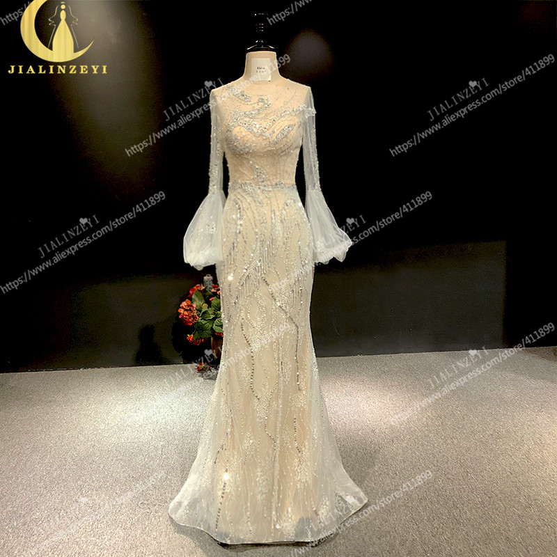 Image 2 - Rhine real Pictures long sleeves light grey with lace beads crystal mermaid sexy evening dress long formal dressesEvening Dresses   -
