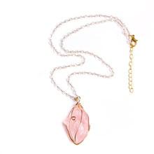 Pink Druzy Stone Necklace Women Slice Quartz Crystal Pendant Chain Necklace Pink Quartz Irregular Stone Necklace For Women Jewelry n091808 18 29 7 strands pearl necklace quartz druzy pendant