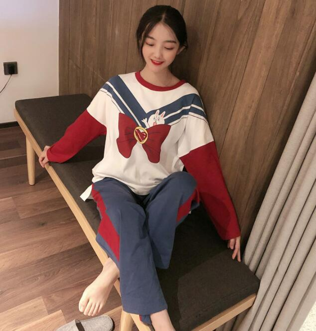Spring and Autumn Lovely Sweet Beauty Pajamas Long Sleeved Pijama Cotton Loose Navy Rabbit Printing Sleepwear Sexy Home Clothes