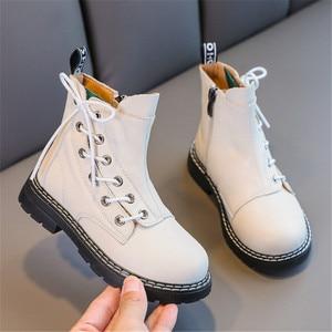 Image 5 - 첫 번째 레이어 소 가죽 소년 소녀 부츠 정품 가죽 어린이 짧은 부츠 가을 겨울 따뜻한 단일 부츠 어린이 가죽 신발