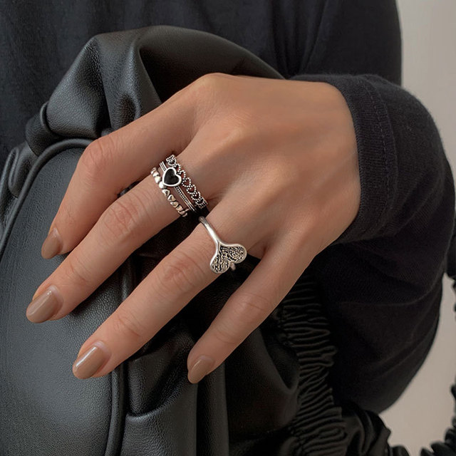 XIYANIKE 925 Sterling Silver Black Love Heart Multi-layer Ring Female Unique Design Fashion Light Luxury Exquisite Retro Couple