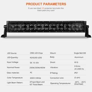 Image 3 - 5D 22 32 42 인치 2000LM 곡선 Led 라이트 바 블랙 렌즈 콤보 빔 트랙터 오프로드 용 작업 표시 등 ATV 4x4 4WD UTV SUV UAZ