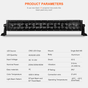 Image 3 - 5D 22 32 42 inch 2000LM Curved Led Light Bar Black Lenses Combo Beam Led Work Light For Tractor OffRoad ATV 4x4 4WD UTV SUV UAZ