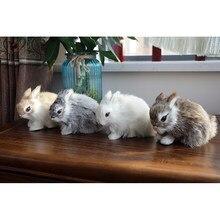 Mini coelho bonito/pintos brinquedos de pelúcia pele realista animal páscoa coelho simulação coelho brinquedo modelo de presente de aniversário coelho boneca