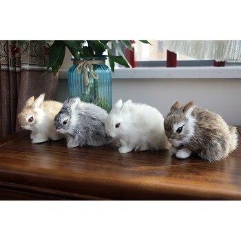Mini Cute Rabbits/Chicks Plush Toys Fur Lifelike Animal Easter Bunny Simulation Rabbit Toy Model Birthday Gift Doll