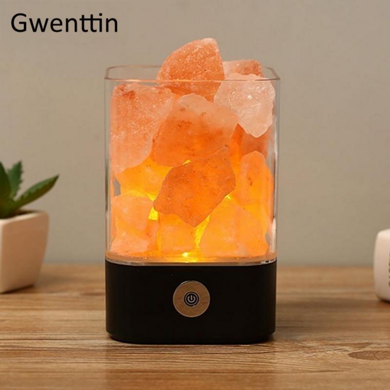 USB Crystal Natural Himalayan Salt Lamp Led Lava Lamp for Home Indoor Warm Light Table Bedroom Bedside Fixtures Luminaira Decor