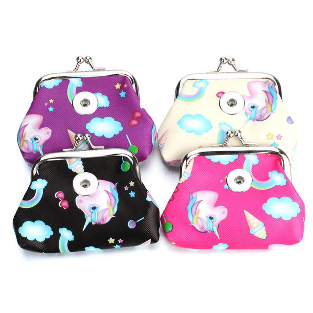 Fashion 18MM Button bag Snap Jewelry Animal Coin Purses Small Wallets Pouch Women's Money Bags Gift For Bracelet ZN067