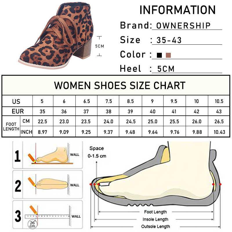 Vrouwen Enkellaars Luipaard Vrouw Med Hakken Lace Up Dames Sexy Pompen Vrouwen Vierkante Hak Schoenen Schoeisel Plus maat 43