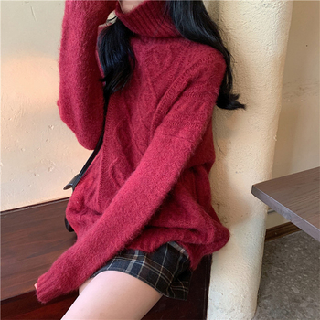 Ailegogo Women Turtleneck Knitted Pullovers Autumn Female Solid Color Loose Sweater Long Sleeve Knitwear Ladies Tops 2