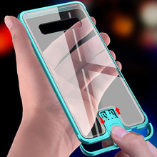 Case For Samsung Galaxy S10/ S10 Plus/ S10 5g 9h Hardness Clear Tempered Glass & Aluminum Metal Slide Back Case Cover Thin Hard(China)