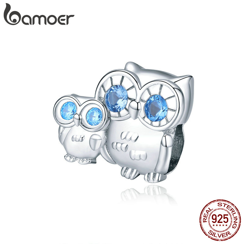bamoer Owl Mom and Baby Metal Charm 925 Sterling Silver Animal Guardian Charm fit Original Bracelet Jewelry Accessories BSC238(China)