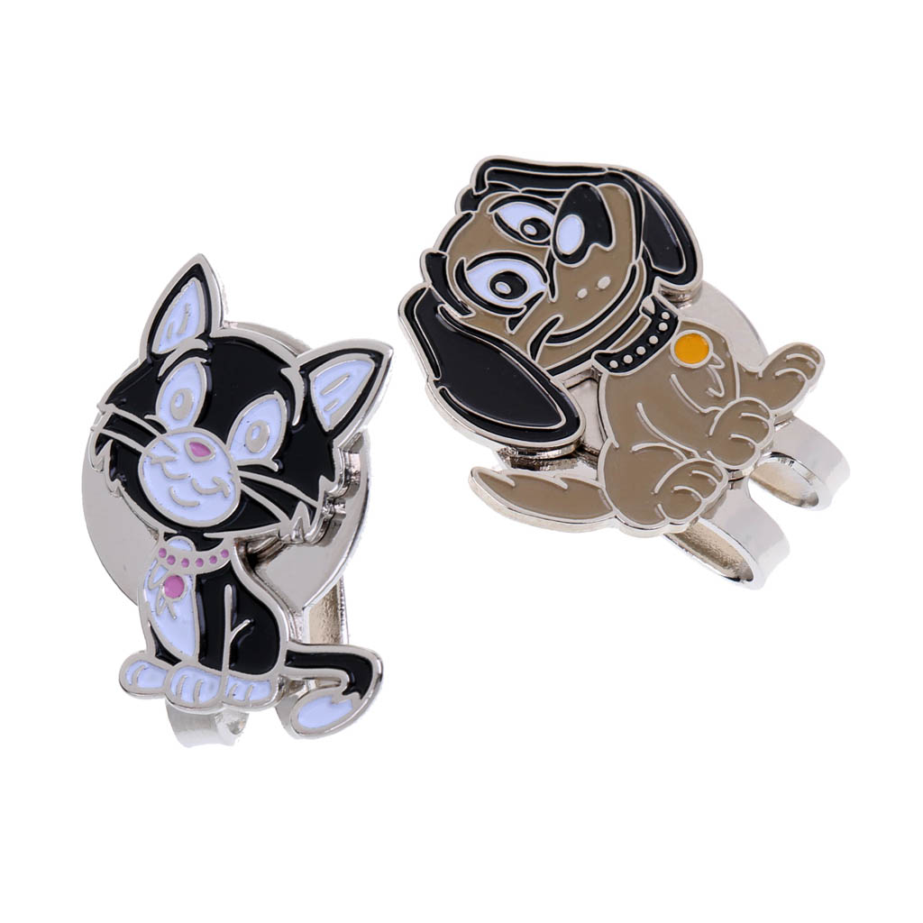 2 Sets Of Golf Ball Markers With Magnetic Hat Clip, Cat And Dog Patterns, Nice Gift For Golfer