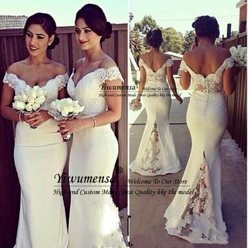 Elegant Long Bridemaid   Dresses   for Women 2020 Lace Off Shoulder Mermaid Sweep Train Corset   Bridesmaid     Dress   Covered Button Back
