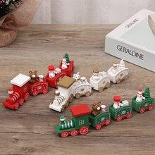 LuanQI Christmas Decorations For Home Decor Wooden Train Navidad Kids Craft Gift Xmas Ornaments Natale 2021 Noel Santa Claus